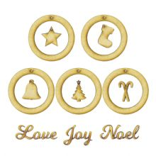 75mm Mini Wreath Bell CandyCanes Star Stocking Tree Words Decoration 3mm MDF Set